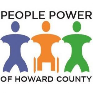 People Power of Howard County Logo showing 2 people standing and 1 person in a wheelchair.