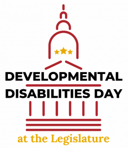 The image shows a drawing of the Maryland State House with the words Developmental Disabilities Day at the Legislature embedded within the drawing.