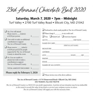 The image shows the back of the 2020 Chocolate Ball reply card.