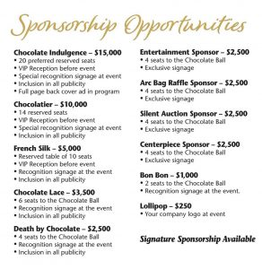 The image shows a listing of sponsorship levels for 2020 Chocolate Ball.