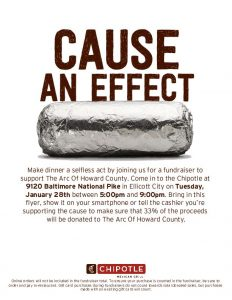 The image shows a flyer for the Fundrasier at Chipotle in Ellicott City, Maryland, for The Arc of Howard County on January 28, 2020, 5 p.m. to 9 p.m.