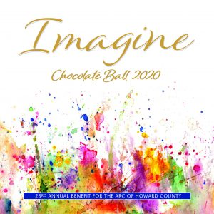 The image shows the cover of the 2020 Chocolate Ball invitation.