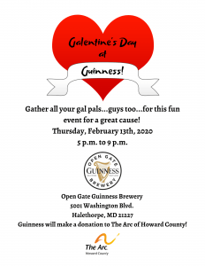 Image is a flyer for Galentine's Day at Guinness Open Gate Brewery on Thursday, February 13, 2020, from 5 p.m. to 9 p.m. Guinness Open Gate Brewery is located at 5001 Washington Blvd., Halethorpe, MD 21277.