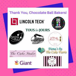 The image shows the logos of the 2020 Chocolate Ball Bakers. The Bakers are Lincoln Tech, Starry Night Bakery, Tous les Jours, Putting on the Ritz, Baldwin's Station, The Elkridge Furnace Inn, Debi's Cake Studio, Fiona's by The Cake Faerie, Giant, and Wilma Bakes Cakes.
