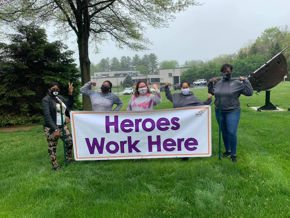 Heroes Work Here Sign Outside The Arc of Howard County Office