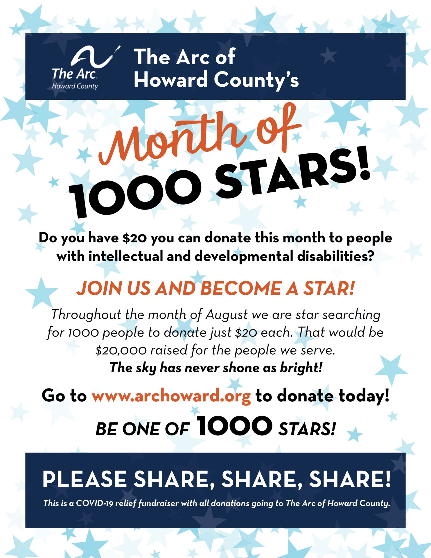 Month of 1000 Stars...A COVID-19 Relief Fundraiser!