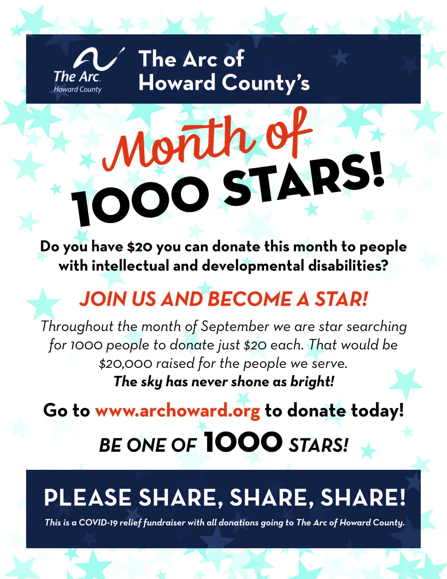 Month of 1000 Stars to Benefit The Arc of Howard County
