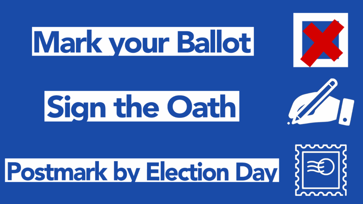 Voting by Mail-in Ballot Instructions: 1. Mark Your Ballot, 2. Sign the Oath and 3. Postmark by Election Day
