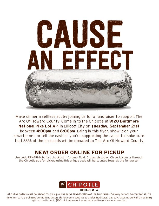 Image is the 2021 Arc Chipotle Fundrasier Flier