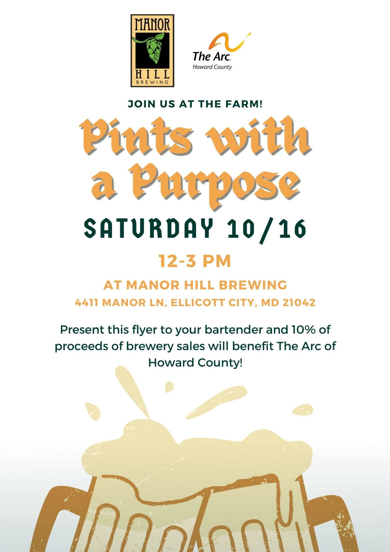 Pints with a Purpose Fundraiser: Saturday, October 16, 2021, 12 p.m.-3 p.m., Manor Hill Brewing