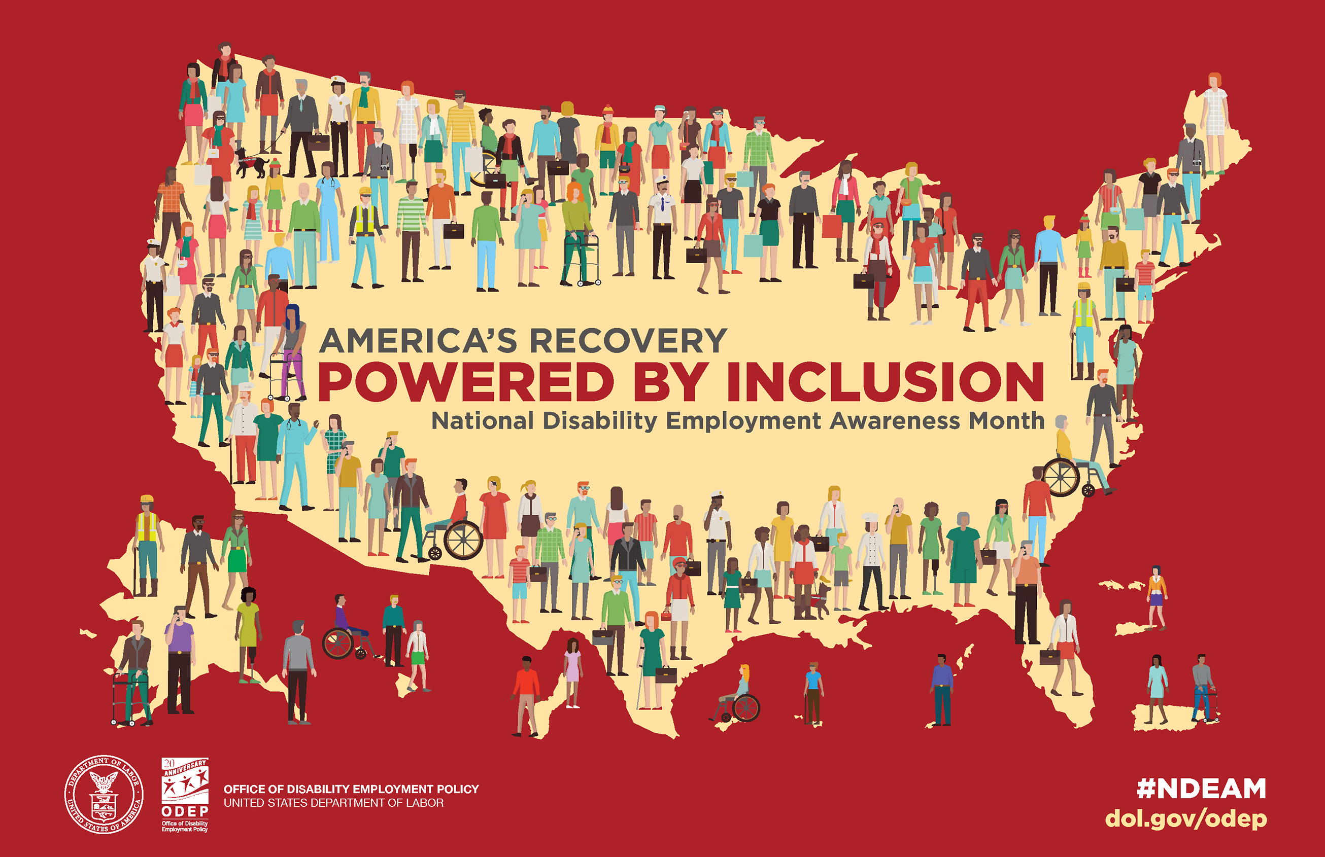 National Disability Employment Awareness Month (NDEAM) Map of the United States